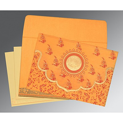 Orange Wooly Screen Printed Wedding Invitation : CD-8207J - IndianWeddingCards