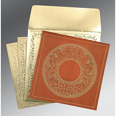 Orange Wooly Screen Printed Wedding Card : CD-8214E - IndianWeddingCards