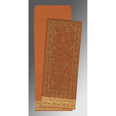 Orange Wooly Screen Printed Wedding Invitation : CG-8220C - IndianWeddingCards