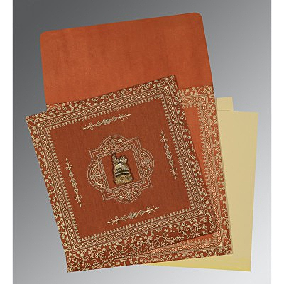 Orange Wooly Screen Printed Wedding Card : CI-1050 - IndianWeddingCards