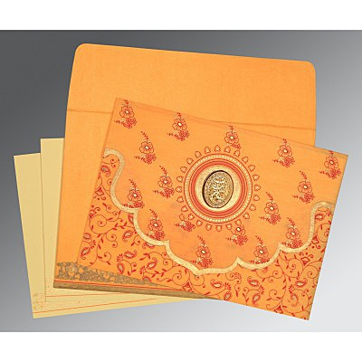 Orange Wooly Screen Printed Wedding Invitation : CI-8207J - IndianWeddingCards