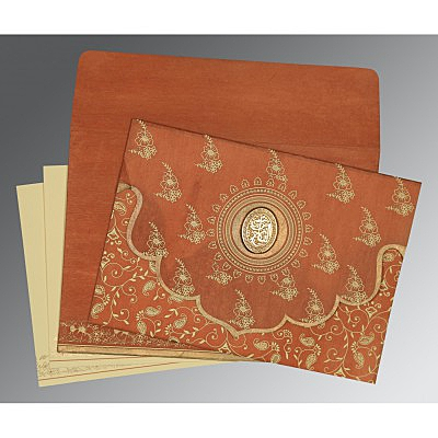 Orange Wooly Screen Printed Wedding Invitation : CI-8207N - IndianWeddingCards