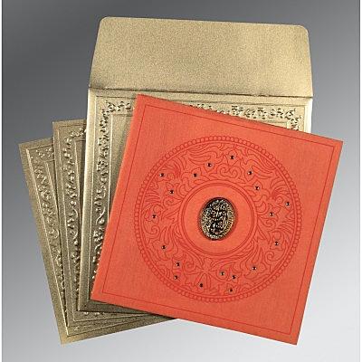 Orange Wooly Screen Printed Wedding Card : CI-8214C - IndianWeddingCards