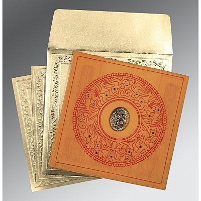 Orange Wooly Screen Printed Wedding Card : CI-8214H - IndianWeddingCards