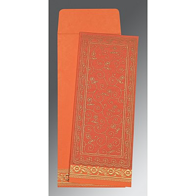 Orange Wooly Screen Printed Wedding Invitation : CI-8220N - IndianWeddingCards