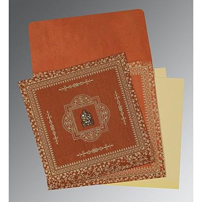 Orange Wooly Screen Printed Wedding Card : CIN-1050
