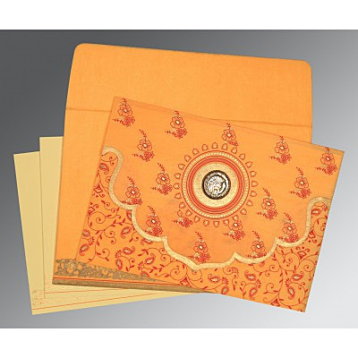 Orange Wooly Screen Printed Wedding Invitation : CS-8207J - IndianWeddingCards