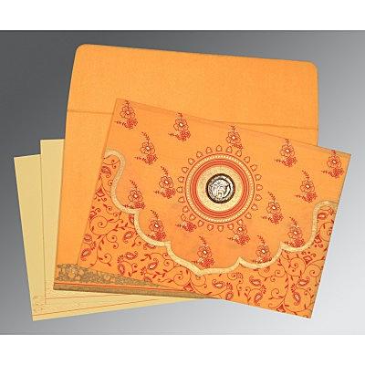 Orange Wooly Screen Printed Wedding Invitation : CS-8207J - IndianWeddingCards