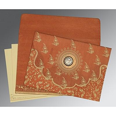 Orange Wooly Screen Printed Wedding Invitation : CS-8207N - IndianWeddingCards