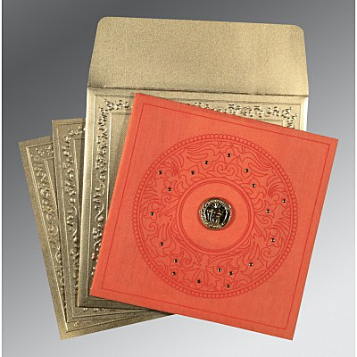 Orange Wooly Screen Printed Wedding Card : CS-8214C - IndianWeddingCards