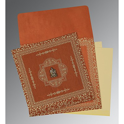 Orange Wooly Screen Printed Wedding Card : CW-1050 - IndianWeddingCards