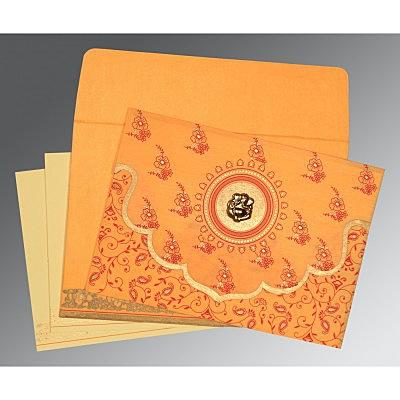 Orange Wooly Screen Printed Wedding Invitation : CW-8207J - IndianWeddingCards