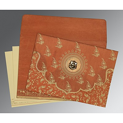 Orange Wooly Screen Printed Wedding Invitation : CW-8207N - IndianWeddingCards