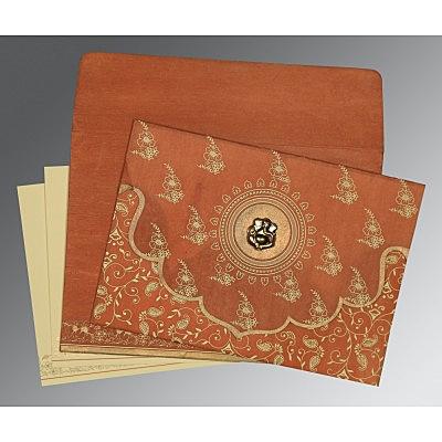 Orange Wooly Screen Printed Wedding Invitations : CW-8207N - IndianWeddingCards