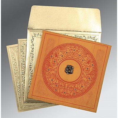 Orange Wooly Screen Printed Wedding Card : CW-8214H - IndianWeddingCards