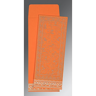 Orange Wooly Screen Printed Wedding Invitation : CW-8220F - IndianWeddingCards
