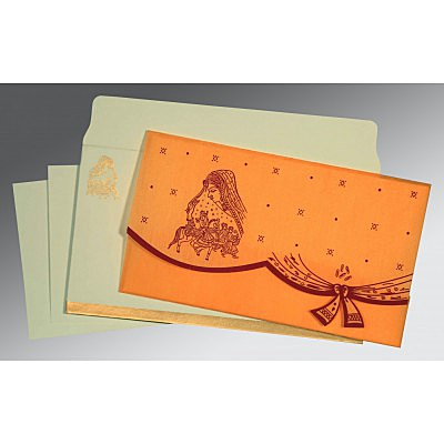 Orange Wooly Unique Themed - Screen Printed Wedding Invitation : CW-8204B - IndianWeddingCards