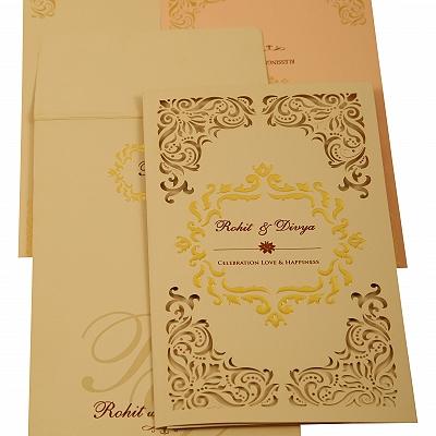 Peach Matte Laser Cut Wedding Invitation : CC-1909 - IndianWeddingCards