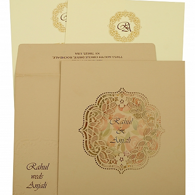 Peach Matte Laser Cut Wedding Invitation : CD-1857 - IndianWeddingCards