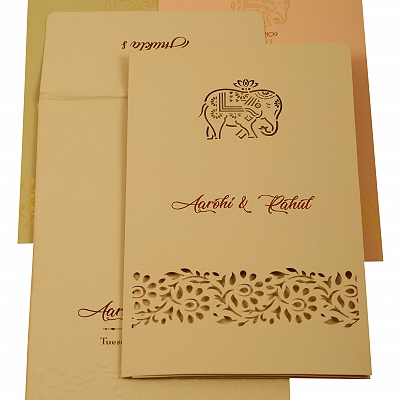 Peach Matte Laser Cut Wedding Invitation : CI-1923 - IndianWeddingCards