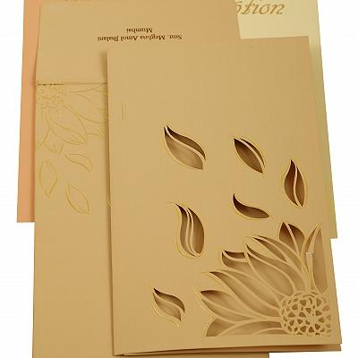 Peach Matte Laser Cut Wedding Invitation : CS-1907 - IndianWeddingCards