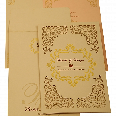 Peach Matte Laser Cut Wedding Invitation : CSO-1909 - IndianWeddingCards