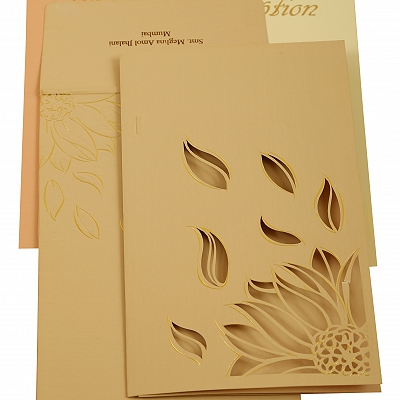 Peach Matte Laser Cut Wedding Invitation : CW-1907 - IndianWeddingCards