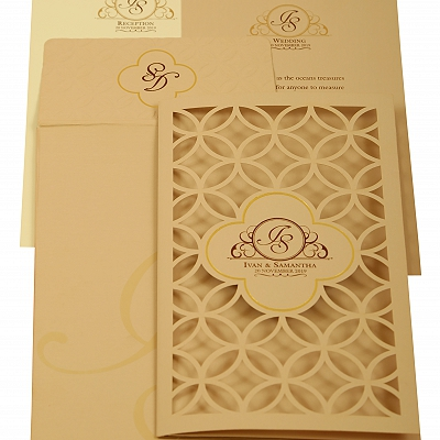 Peach Matte Laser Cut Wedding Invitation : CW-1910 - IndianWeddingCards