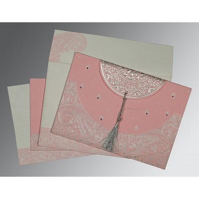 Pink Handmade Cotton Embossed Wedding Card : CS-8234G - IndianWeddingCards