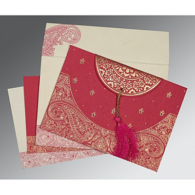 Pink Handmade Cotton Embossed Wedding Card : CW-8234I - IndianWeddingCards