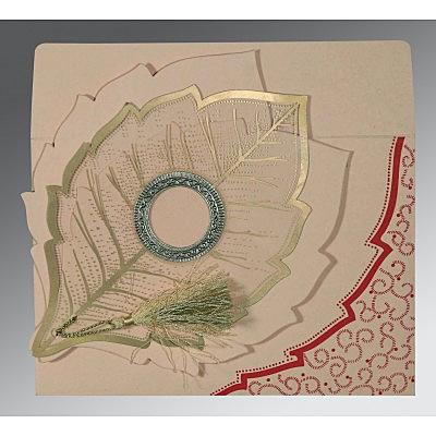 Pink Handmade Cotton Floral Themed - Foil Stamped Wedding Card : CIN-8219D