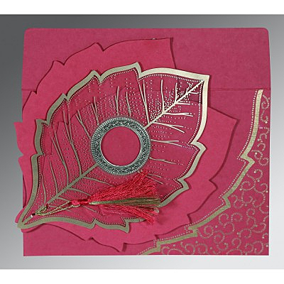Pink Handmade Cotton Floral Themed - Foil Stamped Wedding Card : CW-8219F - IndianWeddingCards