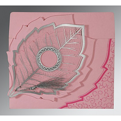 Pink Handmade Cotton Floral Themed - Foil Stamped Wedding Card : CW-8219K - IndianWeddingCards