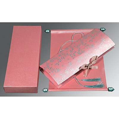 Pink Handmade Shimmer Wedding Invitation : CSC-5007E - IndianWeddingCards
