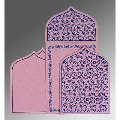 Pink Handmade Silk Paisley Themed - Glitter Wedding Invitation : CS-8208J - IndianWeddingCards