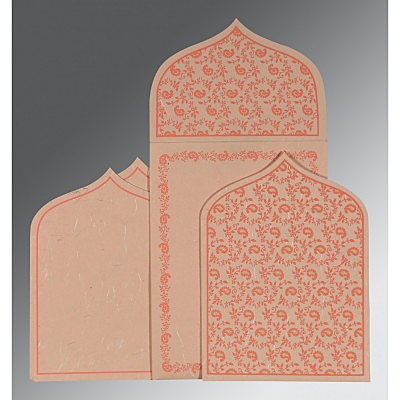 Pink Handmade Silk Paisley Themed - Glitter Wedding Invitation : CW-8208F - IndianWeddingCards