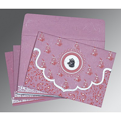 Pink Handmade Silk Screen Printed Wedding Invitation : CC-8207K - IndianWeddingCards