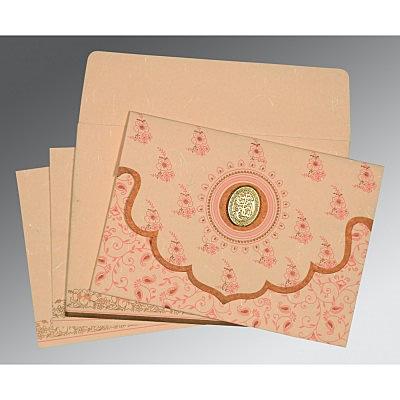 Pink Handmade Silk Screen Printed Wedding Invitation : CI-8207C - IndianWeddingCards