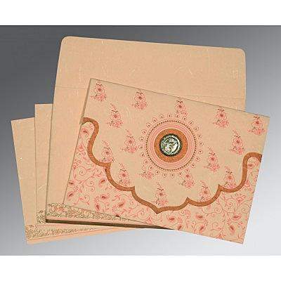 Pink Handmade Silk Screen Printed Wedding Invitation : CS-8207C - IndianWeddingCards