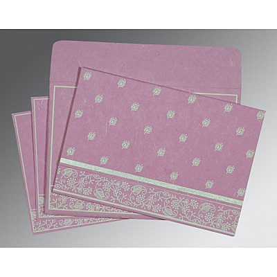 Pink Handmade Silk Screen Printed Wedding Card : CW-8215J - IndianWeddingCards