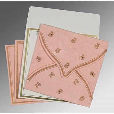 Pink Handmade Silk Unique Themed - Screen Printed Wedding Card : CIN-8203E