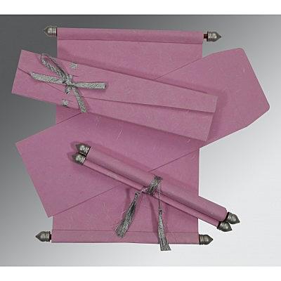 Pink Handmade Silk Wedding Card : CSC-5001E - IndianWeddingCards