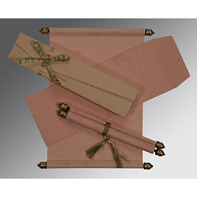 Pink Handmade Silk Wedding Card : CSC-5001F - IndianWeddingCards