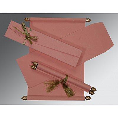 Pink Handmade Silk Wedding Card : CSC-5001N - IndianWeddingCards