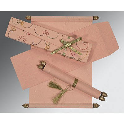 Pink Handmade Silk Wedding Card : CSC-5002H - IndianWeddingCards