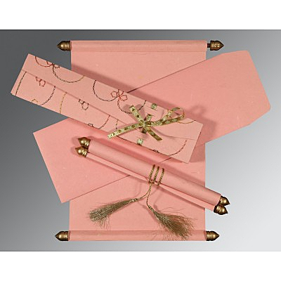 Pink Handmade Silk Wedding Card : CSC-5002M - IndianWeddingCards