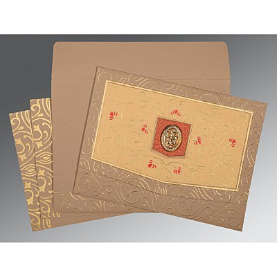 Pink Matte Embossed Wedding Card : CI-1394 - IndianWeddingCards