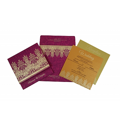 Pink Matte Floral Themed - Embossed Wedding Invitation : CD-1775 - IndianWeddingCards