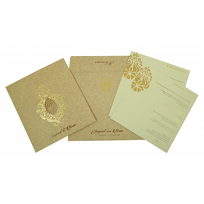 Pink Matte Foil Stamped Wedding Invitation : CW-1811 - IndianWeddingCards