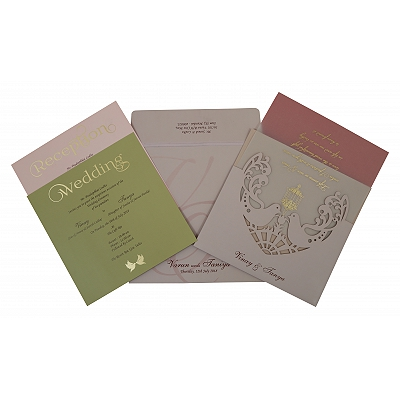 Pink Matte Laser Cut Wedding Invitation : CW-1800 - IndianWeddingCards